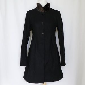 Express Black Long Coat Faux Fur XS